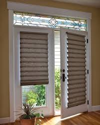 roman shade on french door with stained glass blind shades sliding glass