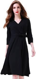 Aphratti Women's 3/4 Sleeve <b>Lapel Collar</b> V <b>Neck</b> Faux Wrap Casual