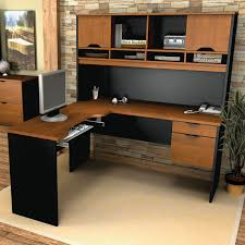 l shaped brown and black solid wood desk with open shelves and cabinet storage also drawers astounding small black computer