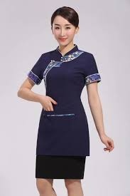2019 <b>Chinese Style</b> Navy Hotel <b>Restaurant</b> Uniform for <b>Summer</b> ...
