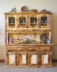 rustic hutch dining room: rustic aspen log dining room hutch