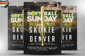 softball sunday flyer template flyer templates on creative market