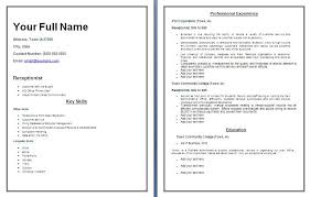 sample blank resume templates resume sample information receptionist resume templates blank resume template standard resume format template