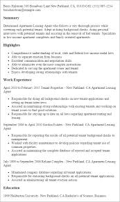 Professional Apartment Leasing Agent Templates to Showcase Your     Resume Templates  Apartment Leasing Agent
