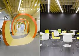 the designer breaks the wall making the bright color spots scattered here and there so as to guide visitors through the whole office best office in the world