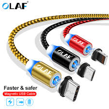 Online Shop OLAF <b>Magnetic</b> Cable Braided LED <b>Type C</b> Micro <b>USB</b> ...