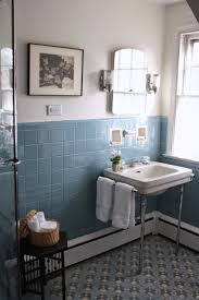 blue bathroom tile ideas: pre holiday spruce up the vintage blue tile bathroom