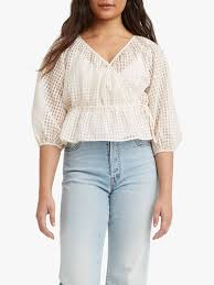<b>Levi's Delilah</b> Peplum <b>Wrap</b> Top, Sugar Swizzle at John Lewis ...
