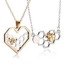 <b>Charm Fashion</b> Silver Necklaces for Women Girl Heart Honeycomb ...