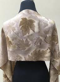 Maple Rose Fern and Blackberry Leaf Eco Printed Silk <b>Scarf</b>