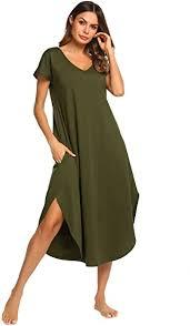 Ekouaer Women's Sleepwear <b>Casual V Neck</b> Nightshirts Short ...