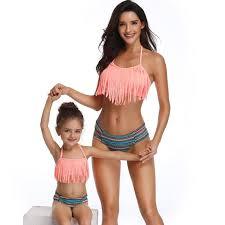 <b>Mother Daughter Bikini</b> Set Split <b>Swimsuit</b> Tassel Sexy Family Match ...