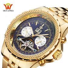 <b>OUYAWEI</b> Auto Date <b>Mens Tourbillon</b> Watch Gold Steel Mechanical ...