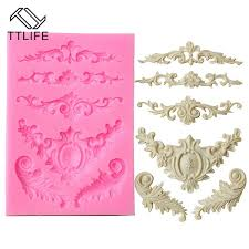 <b>TTLIFE</b> European Style Relief Lace Silicone Molds Fondant Cake ...