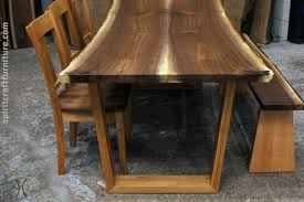 walnut cherry dining: black walnut live edge dining table and bench on cherry trapezoid legs with rh yoder dining