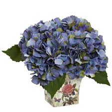 Nearly Natural 9-in Blue <b>Artificial Hydrangea Plants in</b> the Artificial ...