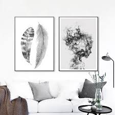 <b>Abstract Feathers</b> Black & White Portrait <b>Nordic</b> Style Wall Art Fine ...