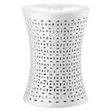 patio stool: safavieh white patio stool safavieh white glaze geometric pattern patio stool