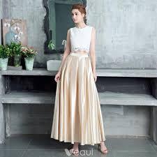 2 Piece Champagne <b>Evening Dresses</b> 2017 A-Line / <b>Princess</b> Lace ...