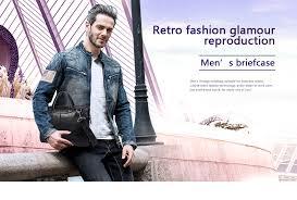 MVA Men <b>Briefcases Genuine Leather</b> Shoulder Bags Black ...
