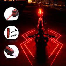 <b>Folding Laser Bike</b> Light Front Rear Safety Warning Bicycle Light ...