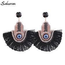 <b>Sehuoran Tassel Earrings</b> For Women Crysal Stone Hand Finger ...