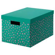 <b>ТЬЕНА Коробка</b> с крышкой, зеленый точечный, 25x35x20 см ...