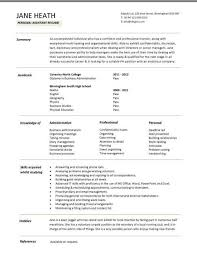 administration cv template    administrative cvs  administrator    entry level personal assistant resume template