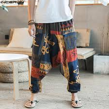 2019 New Hip Hop Aladdin Hmong Baggy <b>Cotton Linen Harem</b> ...