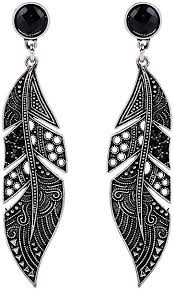 Hosaire 1 pair women's earrings <b>fashion</b> silver black <b>feather</b> shape ...