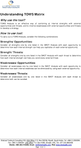 swot tows analysis pdf how to use tool to carry out a tows analysis consider the following combinations