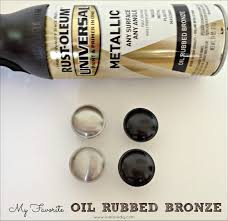 oil rubbed bronze spray painted hardware bathroom