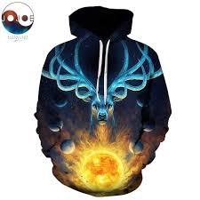 Celestial by JoJoesArt Magic deer Hooded <b>Sweatshirts Men Women</b> ...