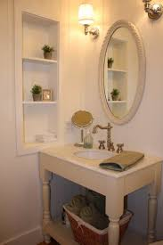 open bathroom vanity cabinet:  f unstained oak wood vanity stand having open shelf and cabinet