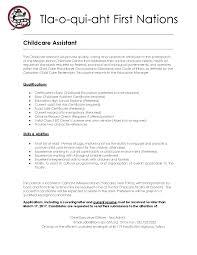 childcare assistant job posting tla o qui aht first nation childcare assistant job posting