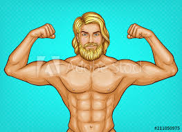 Vector pop art <b>naked</b> male character with <b>bare chest</b>, great muscles ...