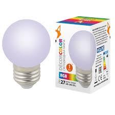 <b>LED</b>-<b>G45</b>-<b>1W</b>/<b>RGB</b>/<b>E27</b>/<b>FR/С Лампа</b> декоративная светодиодная ...
