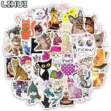 50 PCS Kawaii Cat Sticker <b>Animal Cartoon Lovely Children</b> ...