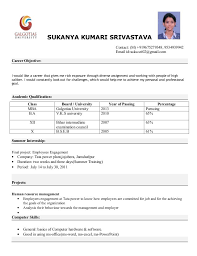 fresher resume format for mba format mba freshers resume format