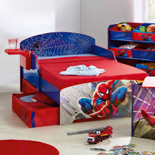 adorable image of sport theme kid bedroom decoration using red and blue spiderman storage kid kid bed frame including curved blue wooden boy headboard blue themed boy kids bedroom