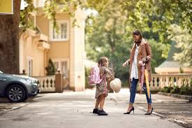 Happy Mother And <b>Little Child</b> With <b>Backpack</b> Ready For <b>School</b> ...