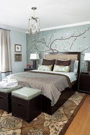 Blue White And Brown Bedroom