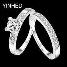 YINHED роскошное белое <b>золотое кольцо</b>, <b>ювелирное изделие</b> ...