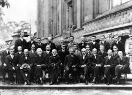 albert einstein the 1927 solvay conference in brussels a gathering of the world s top physicists einstein is in the center
