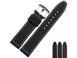 BUREI Mens <b>Soft Silicone Watchband</b> Of Stainless Steel Buckle ...