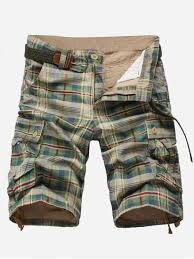 [68% OFF] 2019 Plaid Print <b>Multi</b>-<b>pocket Cargo Shorts In</b> GREEN ...