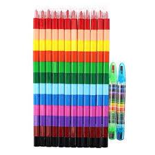 2pcs 12 colors crayon creative building blocks cute kawaii graffiti pens for painting korean stationery student for kids