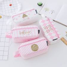 1PC Grid Canvas Pink Pencil Case <b>Kawaii</b> Large Capacity Pencil ...