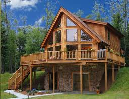 ideas about Cabin House Plans on Pinterest   Log Cabin House        prow homes such as this ever since I was young  I see myself looking out those big windows to a beautiful mountain lake  And so it is  lake house plans