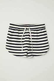 Sweatshirt shorts - <b>Natural</b> white/<b>Dark blue</b> stripe - Ladies | H&M IN